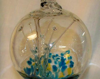 Handblown Glass Witch Ball - Strands inside - HB38-1- Clear with Aqua, Yellow