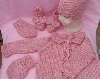 Knitted baby set, new baby gift, baby cardigan, new baby, special occasion, spring summer, baby gift set