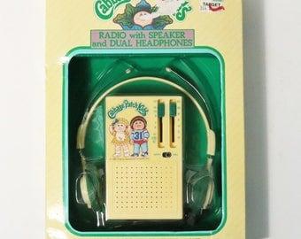 Vtg Playtime 1983 Cabbage Patch Kids AM/FM Radio w/ Speaker & Headphones, NRFB