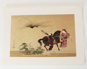 On a Journey to Yedo by Choshun Miyakawa Japanese Woodblock Print 1930s