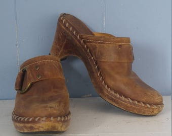 Vintage 70s Frye Clogs/Mules/Tan Leather/Whipstitch/Motorcycle/ Boho/70s Rocker/