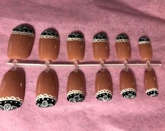 Nude Acrylic Nails Lace Fake Nails Neutral False Nails Black Glue On Nails Floral Press On Nails
