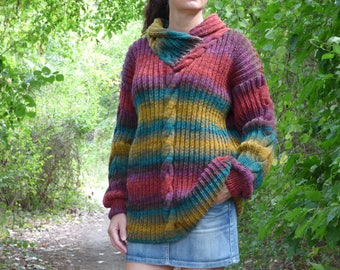 New hand knitted wool sweater,Handmade jumper,Handcrafted pullover