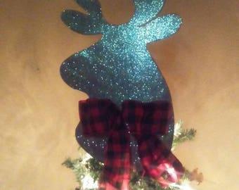 Christmas tree topper. Glitter deer head Christmas tree topper. Christmas tree decor...Christmas decor