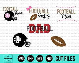 Football SVG - SVG Files - Football Monogram SVG - Football Mom Svg -  Svg Bundle - Football Dad Svg - Football Sister Svg - Sports Svg