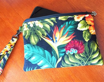Clutch, Wristlet, Clutch Purse, Evening Bag, Bridesmaid Clutch, Floral Bag, Zippered Bag in Hawaiian Floral on Black - Made in Maui
