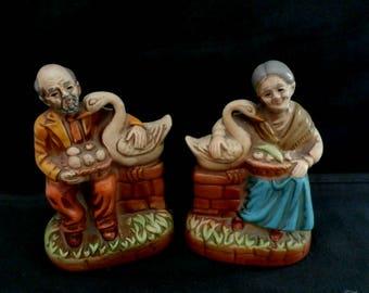Japan Figurine, Farmer and Wife Figurine, Old Couple Figurine with Swan, Home Decor, Christmas Gifts, Wedding Anniversary Gift, Set of 2
