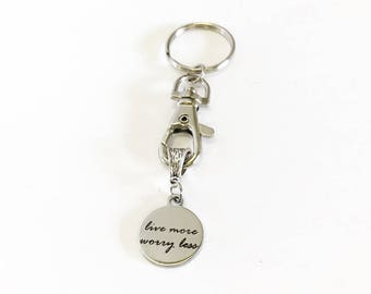 Live More Worry Less Keychain Gift, Mindfulness Gift, Meditation Gift, Encouragement Gift For Her, Motivational Gift, Sympathy Gift