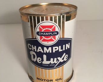 Vintage Unopened Champlin Deluxe One Quart Oil Can