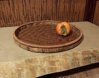 Round Vintage Chinese Bamboo Flat Basket Tray Double Weaved