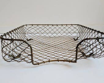 French vintage basket - French salad basket - French wire basket - French egg basket