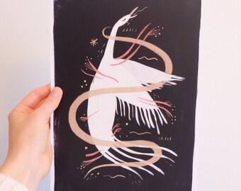 A4 Swan Print