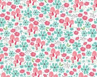 Flora and Fawn, Flora Garden White cotton woven fabric by Riley Blake Designs