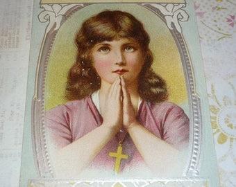 ON SALE till 7/28 Sweet Little Girl Praying Antique AMP Easter Postcard
