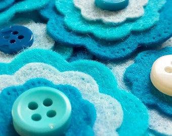 Blue Felt Flowers, Felt Flower Craft Supplies, Blue Flower Appliques, Blue Layered Flowers