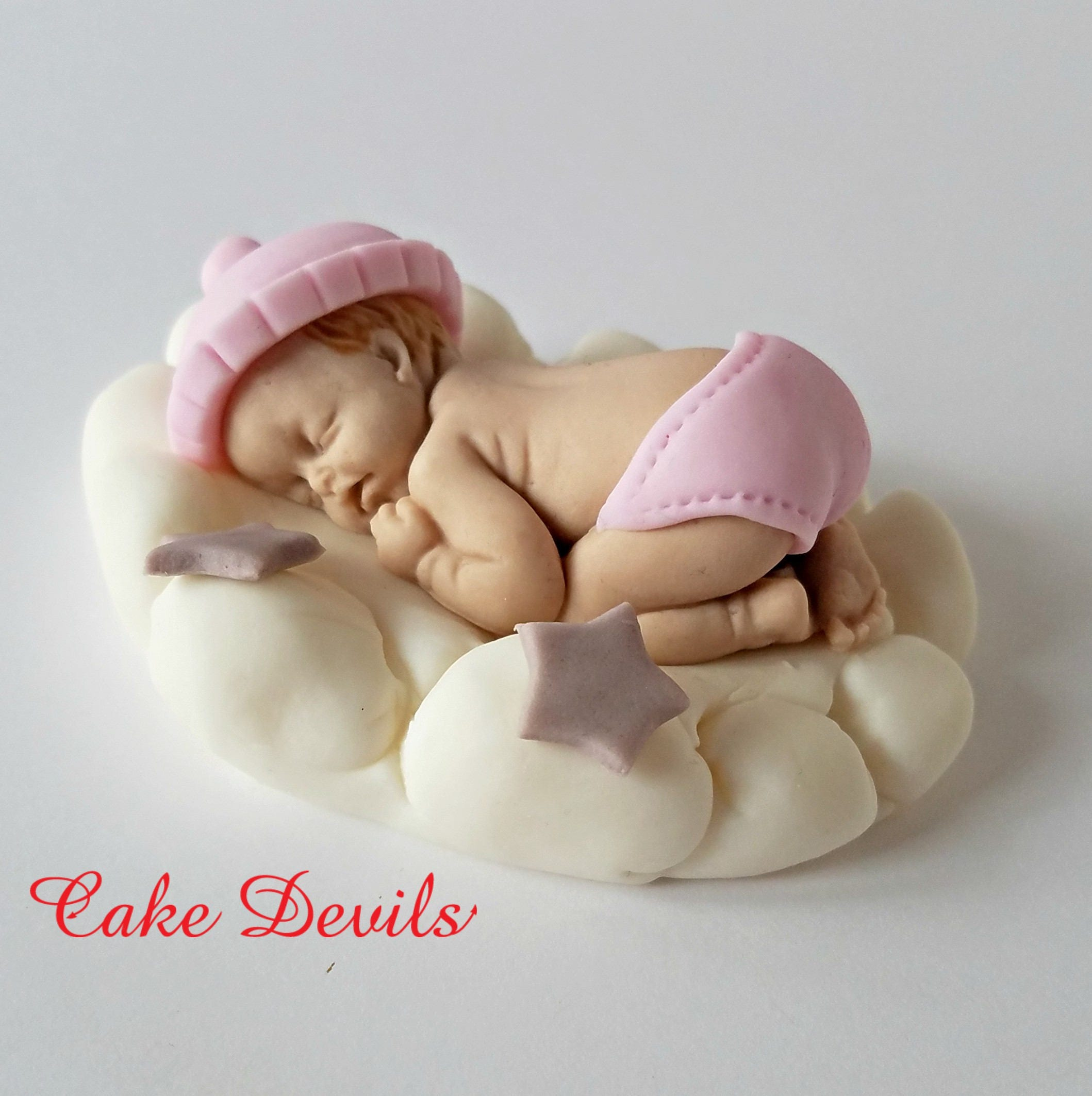 Fondant Baby Sleeping On A Cloud Baby On Cloud Baby Shower