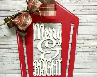 Merry and bright lantern, lantern, christmas lantern, christmas door hanger, christmas decor, door hanger, christmas, merry and bright