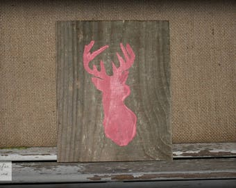 Deer Sign / Coral Sign / Deer Silhouette Sign / Farmhouse Sign / Nursery Sign / Baby Sign / Rustic Wood Sign / Pallet Sign
