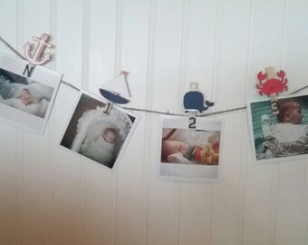 Nautical First Birthday Party, Nautical Monthly Photo Banner, Beach First Birthday, First Birthday Photo Banner, N-12 Pictures