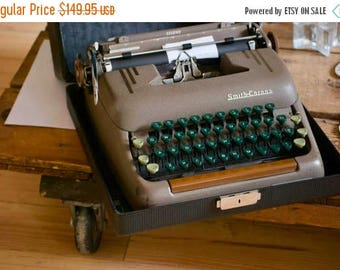 Smith Corona Silent Working Vintage Typewriter with case & key Brown with Green Keys, Wedding Guest List, Office Prop, Writer Birthday Gift