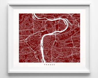 Prague Map, Czech Republic Print, Prague Poster, Praha Print, Czech Republic Art, Art Print, Art Prints, Kids Room Decor, Valentines Day