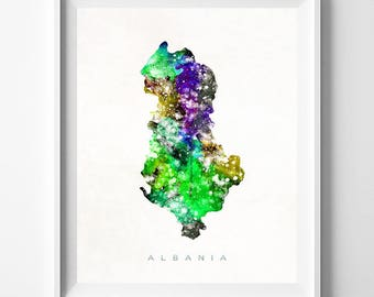 Albania Map Print, Tirana Print, Poster, Albania Map, Watercolor Painting, Map Art, Wall Art, Wall Decor, Present, Valentines Day Gift
