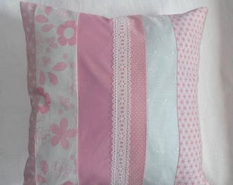 Fabric pillow cover - Pink / White