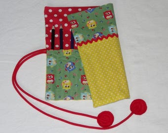 Pencil case / red polka dot yellow owls
