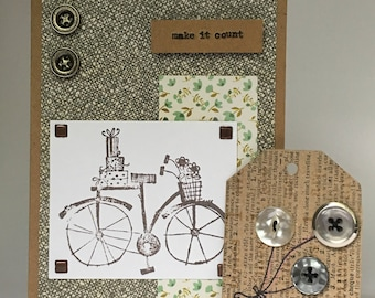 Bicycle Note Card with Matching Vintage Button Tag