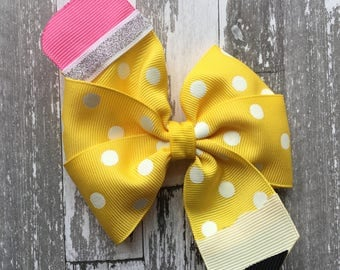 Pencil Bow - Pencil Back to School Bow - Back to School Hair Bow - Pencil Hair Bow - School Hair Bow - School Bow