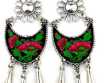 Handmade dangle chandelier earrings, tassel boho embroidered metal earrings, water drop earrings, tribal metal earrings, black, pink, green