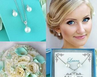 SALE Ends Monday Bridesmaids Jewelry Set, CZ Pearl Wedding Necklace Set, bridal jewelry, wedding jewelry, cz jewelry set, pearl jewelry set