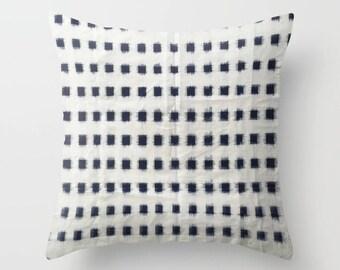 Handwoven Ikat Pillow - Off White and Dark Indigo