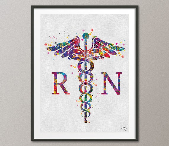 Caduceus Registered Nurse Watercolor Print Wall Art Rn Artrhetsy: Nurse Home Decor At Home Improvement Advice