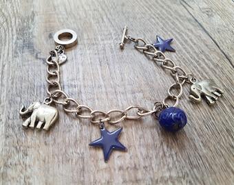 "Silver bracelet ""Purples stars"""