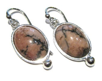 Rhodonite earrings silver 925%