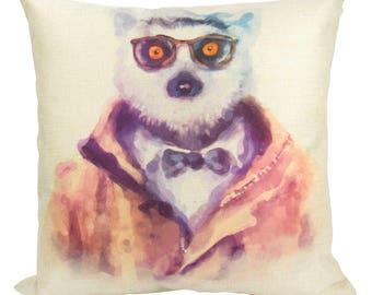 Hipster Lemur - Pillow Cover