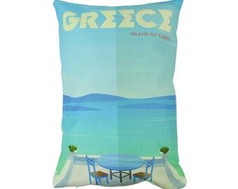 Greece | Adventure Time | Pillow Cover | Wanderlust | Throw Pillow | Travel Pillow | Pillow | Home Decor | 12 x 18 Pillow | Adventure Awaits