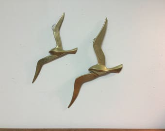 Two Brass Seagull Wall Hangings, Made in India