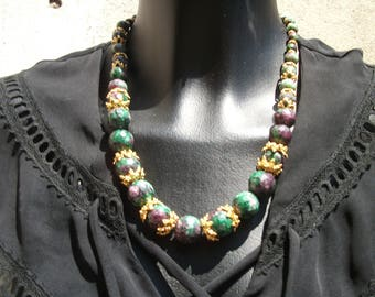 Ruby zoisite natural crescendo, accented with vermeil necklace.
