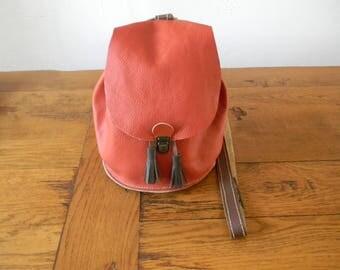 Handmade orange/brown leather shoulder bag