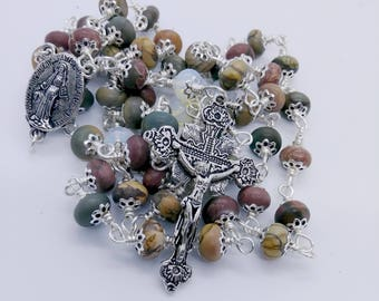 Natural Picture Jasper Catholic Rosary