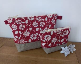 Duo toilet bag waterproof red floral white off with or without handle