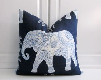 Ronnie Gold Decorative Pillow Cover-Ravi Elephant in Twilight-13x23 lumbar, 18x18, 20x20, 22x22, 24x24, 26x26