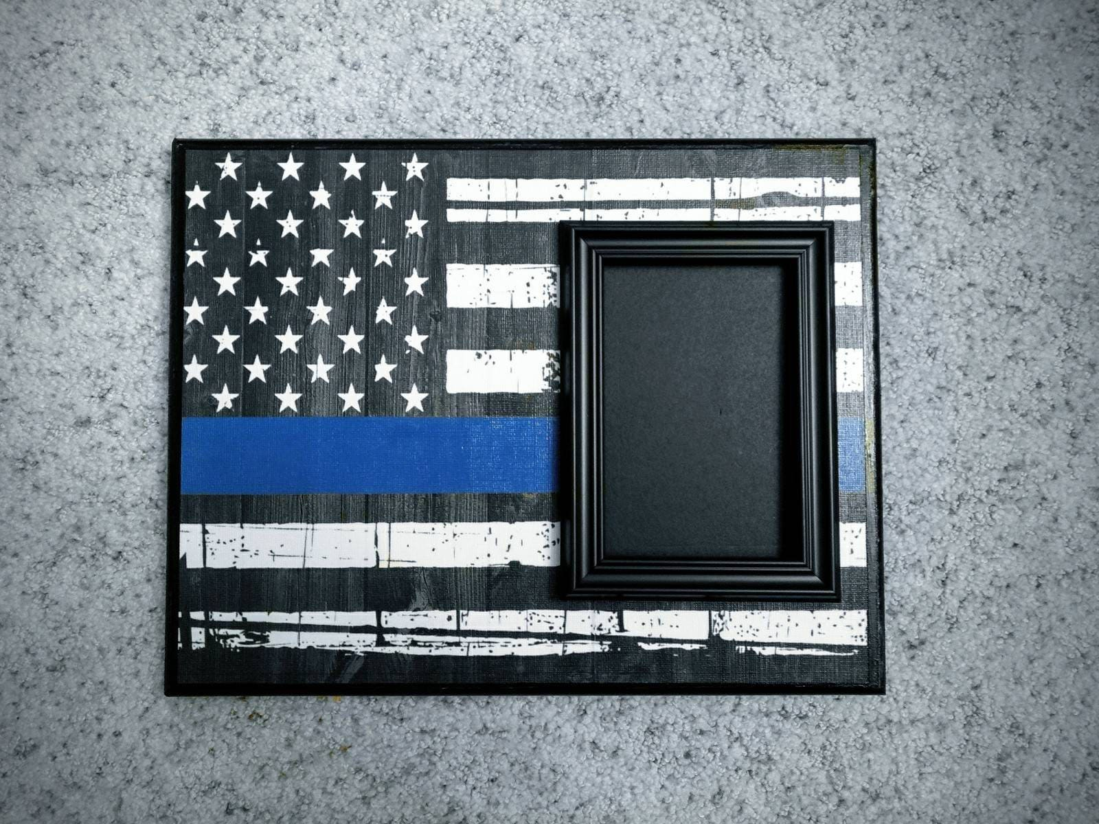 Police officer flag with frame thin blue line blue line flag sold by youniquesoul jeuxipadfo Choice Image