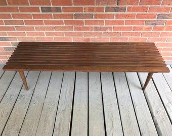 "Vintage Mid Century Solid Teak Wood Slat Bench or Coffee Table - 60"""