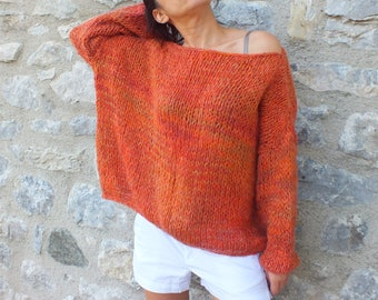 Women mohair sweater,Orange sweater,Off the shoulder pullover, Soft wool sweater