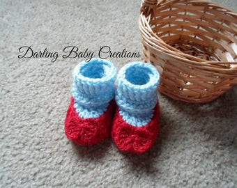 Crochet Dorothy's Ruby Red Slippers Booties:  Sizes Newborn-12 Months.