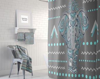 Awesome Boho Elephant Shower Curtain Optional Bath, Bath Towels Mat Bathroom Set,  Gray , Turquoise