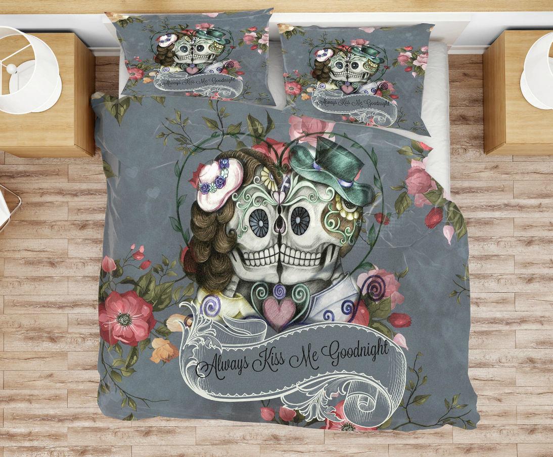 Skull Bedding Sugar Skulls Duvet Cover Or Comforter Gray